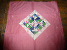 """Handmade Hand/ Tied Doll/Baby Quilt/Blanket 25"""" x 25 """"  Mauve/DIamond Lace"""