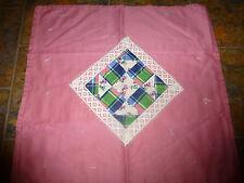 "Handmade Tied Doll/Baby Quilt 25"" x 25 "" Mauve/Diamond Lace Design"