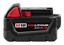 Milwaukee Battery Cordless 18V 5.0Ah Li-Ion RED LITHIUM M18B5