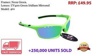 RayZor Uv400 Neon Green Sports Wrap Sunglasses green Mirrored Lens (401