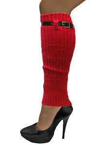 KNIT LEG WARMERS WITH ADJUSTABLE BELT TRIM