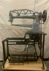 SINGER 29K73 Long Arm Shoe Patching Leather Sewing Machine Stand Electric Motor