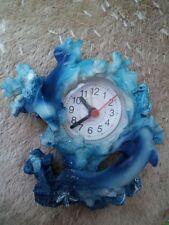 Travel Alarm Clock Pretty Blue Ceramic Dolphins + New Battery