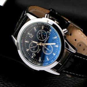 Men Watch Military Date Quartz Fashion Sport Business Leather Mens Wrist Watches