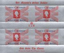 SILVER JUBILEE 1977 DAILY MIRROR BALLOON RACE OVERPRINT MNH STAMP SHEETLET