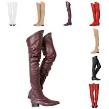 Women Clubwear Pointed Toe Low Chunky Block Heel Over Knee Boots Shoes Nightclub