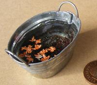 1:12 Scale Large Oval Metal Tub Of Rain Water Dolls House Garden Bath Accessory