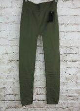 Free to Live Womens One Size Olive Fleece Lined Pull On Long Leggings Soft Layer