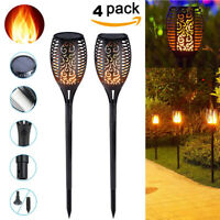 1-4 Pack 33 LED Waterproof Solar Tiki Torch Light Dancing Flickering Flame Lamp