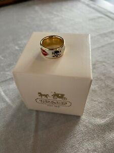 Coach Gold Enamel Ring Costume Jewellery Authentic - Free Shipping