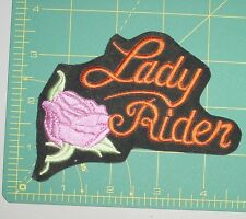 Embroidered Patch - Lady Rider - with Pink Rose