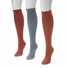 Muk Luks Women's Socks 3 Pair Pack Knee High Copper Burgundy Gray Metallic