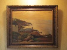 antique primitive seascape oil painting nautical artwork maritime harbor signed