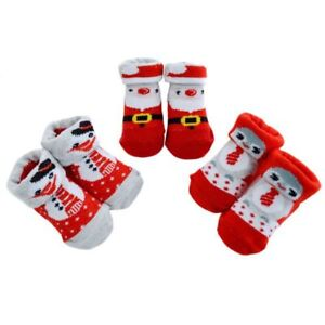 Baby 1st Christmas Xmas Novelty Socks Bootees Booties Red Infant Babys 0 6 Mths