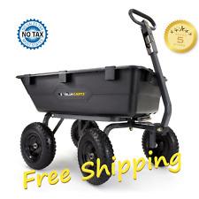 Heavy Duty Dump Cart Wheel Barrow Utility Yard Garden Lawn Wagon Poly 1200 lb
