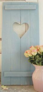 Landhaus Fensterladen Taubenblau mit Herz,Shabby antique chic Handgefertigt
