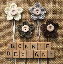 x4 Crochet Flowers w/WOODEN button - AUTUMN SHABBY CHIC mix Appliqué Toppers