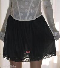 NERO SETA NYLON BRILLANTE sottoveste di pizzo mini a metà Sottogonna lingerie