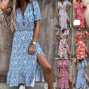 UK Womens Floral Split Ladies Party Short Sleeve Tropical Rockabilly Midi Dress
