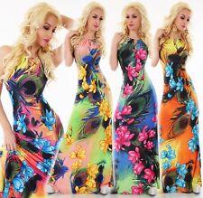 Damen Maxi Kleid Lang Bodenlang Sommer Party Strandkleid Kette Blumen Neckholder