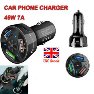 CAR PHONE CHARGER 45W 7A TRIPLE CIGAR LIGHTER USB PORT FAST CHARGE NEW UK