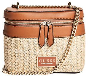 NEW GUESS Elina Womens Handbag Fashion Crossbody Shoulder Bag Brown Straw