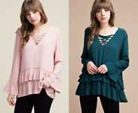 S Stylish Boho Ruffled Hem Long Sleeve Womens Tunic Top Shirt Blouse Pink