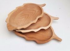 "Wooden plate set of three , 13,5x7 ""  serving plate set,  natural beechwood"