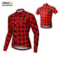 Mens Long Sleeve Cycling Jerseys MTB Bike Full Zipper Bicycle Tops Breathable