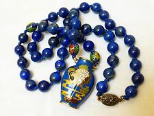 VINTAGE CHINESE CLOISONNE AND LAPIS BEADS NECKLACE, SILVER CLASP