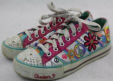 Girls Sketchers Light Up Twinkle Toes Shoes Size 4 Pink Graffiti Pattern