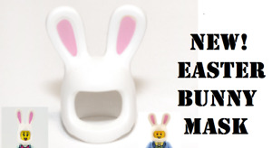 New! Lego Bunny MASK White Easter Minifigure Hat Costume Pink Ears Girl Boy