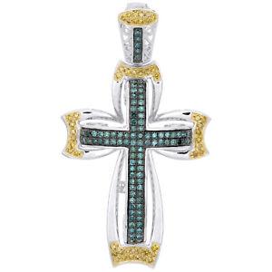 "10K White Gold Blue & Yellow Diamond Fancy Cross Pendant 1.95"" Pave Charm 1 CT."