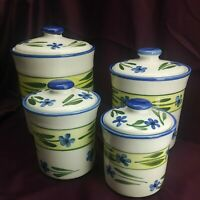 Ceramic Canister 4pc Set Blue Pansy Country Pattern Montgomery Ward China (5E1)