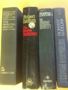 LOT OF 4 ROBERT LUDLUM NOVELS BOURNE IDENTITY/SUPREMACY, GEMINI,PARSIFAL