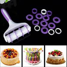 Cake Decorating Sugarcraft Fondant Ribbon Embosser Roller Cutter Strip fashion