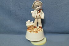 """Music Box Boy w Basket of Bunny Rabbits Plays Memories The Way We Were 6 3/4"""" T"""