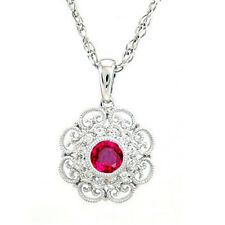 ".46ct Red Ruby & Diamond Antique Filigree Pendant Necklace 18"" Chain"