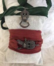 NEW HANDMADE Silk Ribon Sterling Silver Black Spinel Halloween Skull Bracelet