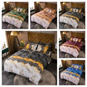 Doona Duvet Quilt Cover Set with 2 x Pillow Case - Double Queen King Size Marble