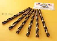 "Drill Hog USA 3/8"" Drill Bit 3/8 Molybdenum M7 Lifetime Warranty USA 6 Pack"