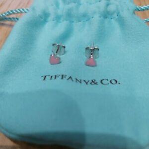 Tiffany & Co Sterling Silver Very Small Pink Mini Heart Stud Earrings