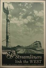 c.1930s Santa Fe Streamliners Link The West Poster Super Chief Railroad Vintage