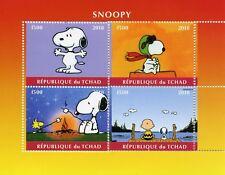 Chad 2018 MNH Snoopy Peanuts Charlie Brown 4v M/S Cartoons Comics Stamps