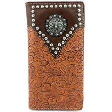 Western Cowboys Mens Tooled PU Leather Tan Brown Longhorn Concho Bifold Wallet