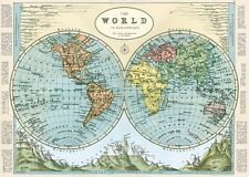 Hemispheres of the World deco style Map  Poster Cavallini & Co 20 x 28 Wrap