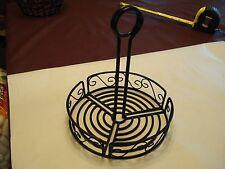 "Black Wrought Iron Round Condiment Basket w/Handle, 9"" x 8"""