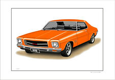 71 74 HOLDEN HQ GTS MONARO COUPE    LIMITED EDITION CAR PRINT AUTOMOTIVE ARTWORK