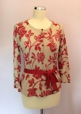 COUNTRY CASUALS BEIGE & RED FLORAL PRINT TIE BELT CARDIGAN SIZE S PETITE