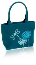 Turquoise Linen Grab Bag, Embroidered Dragonfly design - Fair Trade BNWT